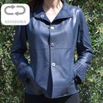 Ladies Reversible Blue Suede Leather Coat