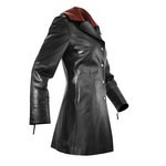 Women's Black Fitted Italian Leather Coat