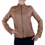 Fitted Italian Leather Jacket for Women Tabacco