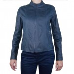Fitted Italian Leather Jacket for Women Blue
