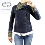 Reversible Jacket with Woven Collar and Cuff in dark blue