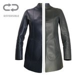Reversible Blue/Dark Grey Leather Coat