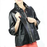 Italian Leather Jacket for Women with Decorative Cut Out Design
