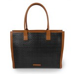 Black tote bag in woven leather