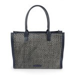 Grey tote bag in woven leather