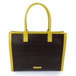 Brown tote bag in woven leather