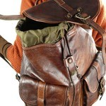 Backpack in Washed Leather with 2 External Pockets