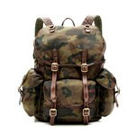 Back Pack, Military Style in Nylon and Washed Leather