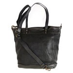 Large Shopping Tote in Stamped Distressed Leather, Black