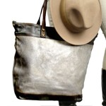 Large Shopping Tote in Washed Leather, Metallic