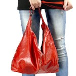 Large Hobo Bag in Washed Leather with Studded Detailing