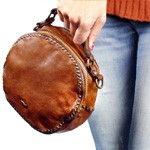Round Shaped Crossbody Bag in Washed Leather with Studded Detailing
