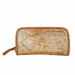 Zip Around Wallet in Washed Distressed Leather, Two Tone