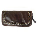 Zip Around Wallet with Coloured Studs in Washed Leather