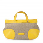 Women's Hand Bag in Canvas and Leather
