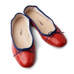 Porselli Ballet Flat - Red with Blue Trim