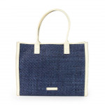 Toscanella tote bag in blue woven leather