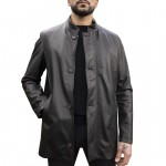 Jacket with Covered Zip and Buttons for Men