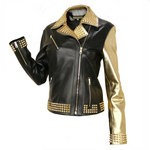 Glam Rock Studded Jacket with Assymetrical Zip for Women