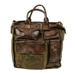 Campomaggi Washed Leather and Stamped Canvas Work Bag - 005990ND