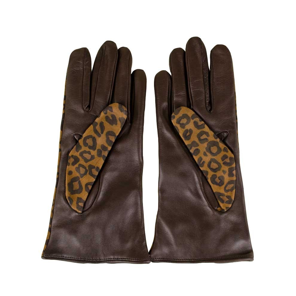 02989da73 Handmade Leather Leopard print Gloves for Women Made in Italy