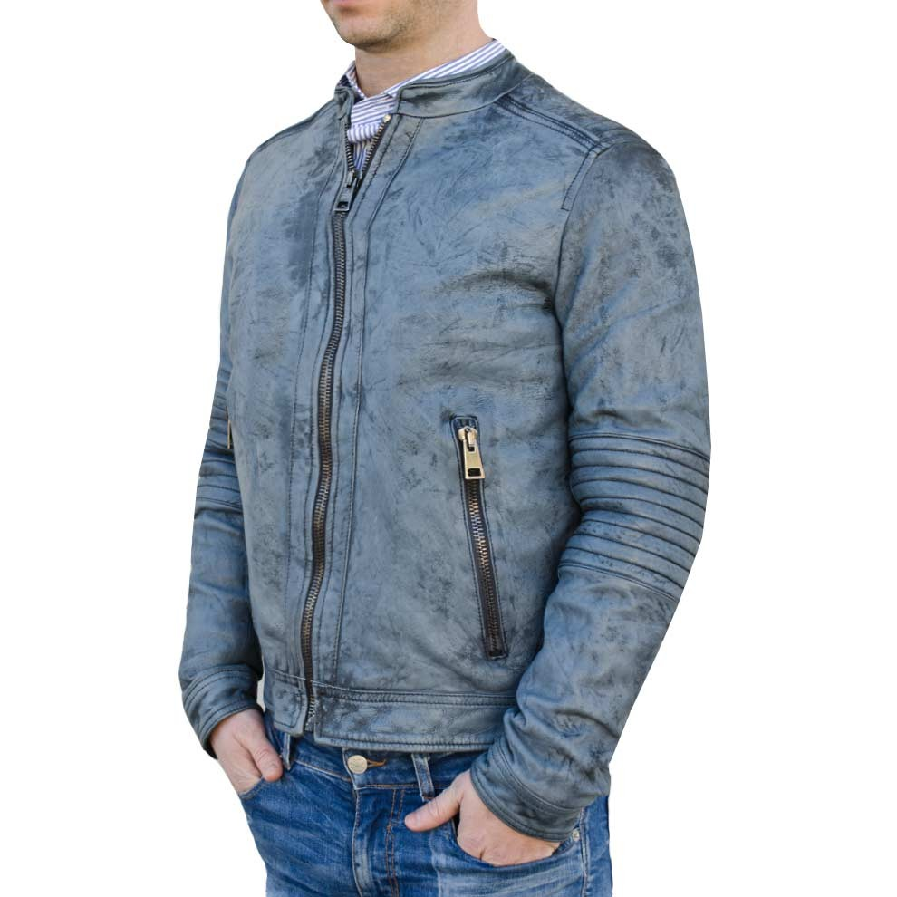 Handmade Fitters Men Slim Fitted Button Closure Leather Jacket