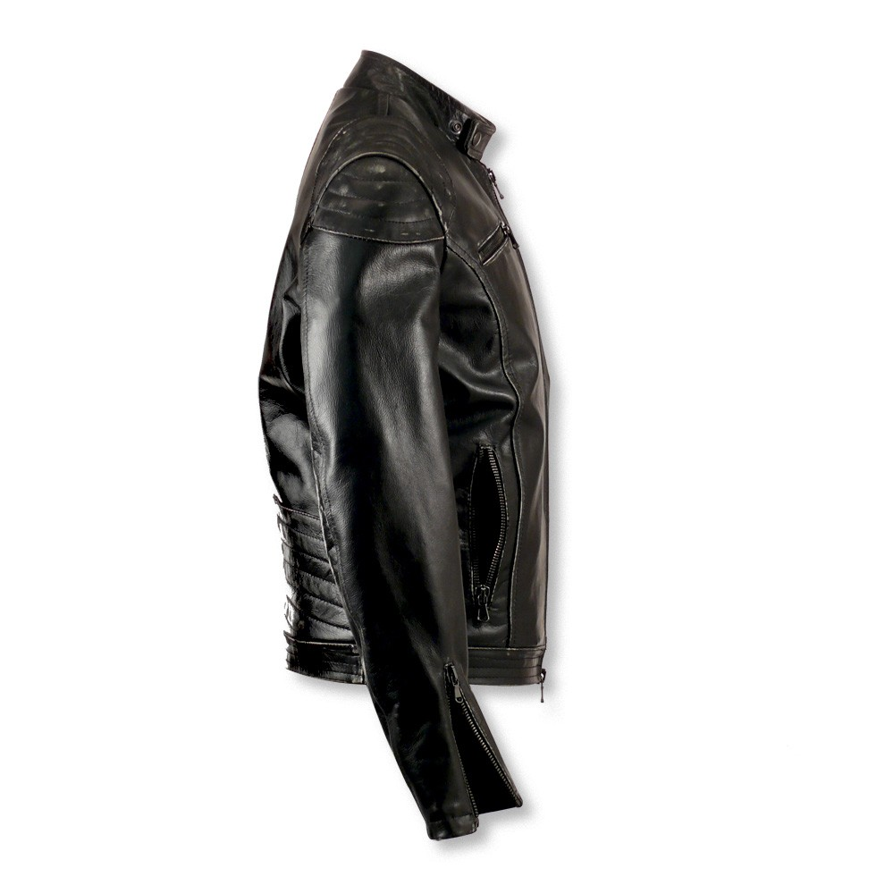 1dcd30fa4b5f Leather Moto Jacket Shoulder Padding for Men Made in Italy