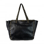Leather Shopper Tote Bag With Studded Handles Lavata by Campomaggi C00867