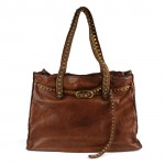 Leather Shoulder Tote Bag with Studded Handles - Onice by Campomaggi C009720ND