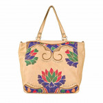 Vintage Leather Flower Stamped Tote Bag C007800ND