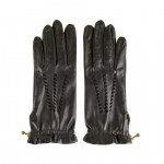 Leather Gloves with Silk lining and zip detail Made in Italy PM25-SE