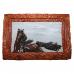 Leather Wall Art Sculpture Arthur Horse in the North Wind GM-QUA01
