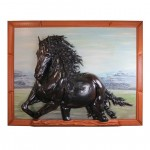 Leather Wall Art Sculpture Friesian Horse Made in Tuscany GM-QUA03