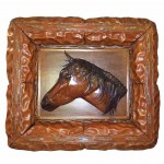 Leather Wall Art Sculpture Ribot Racehorse Made in Tuscany GM-QUA04