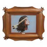 Leather Wall Art Sculpture Crazy Horse Made in Tuscany GM-QUAD-CAV