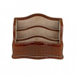 Leather Desk Organizer Nubuck Lined Handcrafted in Tuscany GM-9202