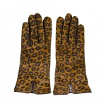 Handmade Leather Leopard print Gloves Made in Italy AL56R-CA