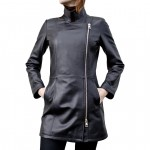 Leather Coat Notched Collar for Women Made in Tuscany AB405-NA