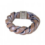 Leather Art Jewelry Bracelet with 925 Silver Clasp GM-47