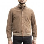 Suede & Leather Bomber Jacket for Men Made in Florence AB420-CA