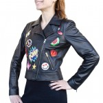 Leather Moto Jacket with Patches for Women Made in Italy AB412-NA
