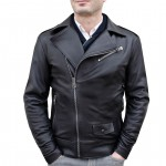 Leather Biker Jacket Asymmetrical for Men Handmade in Italy AB407-NA