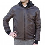Leather Bomber Reversible Water Resistant Jacket with Hood for Men AB421-NA