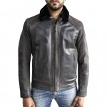 Leather Bomber Jacket  for Men with Fur Collar Made in Italy AB419-NA