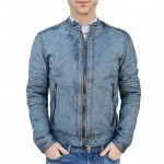 Leather Moto Biker Jacket Slim Fit for Men Italian Made AB409-NA
