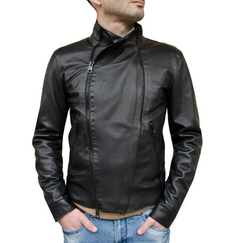Leather Asymmetrical Moto Jacket for Men Made in Florence - Pierotucci