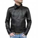 Leather Asymmetrical Moto Jacket for Men Made in Florence AB413-NA