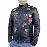 Leather Racer Bike Jacket for Men Tailored Fit Italian Made AB414-NA
