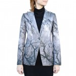 Leather Blazer for Women with Ramage in Shades of Grey Italy Made AB403-NA