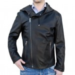 Leather Hooded Biker Jacket for Men Made in Tuscany AB408-NA